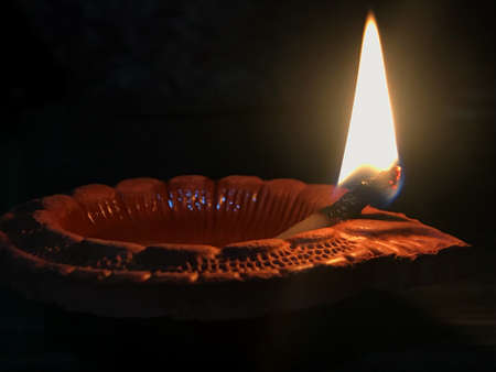 Photo for Clay Diya or Oil Lamp - Royalty Free Image