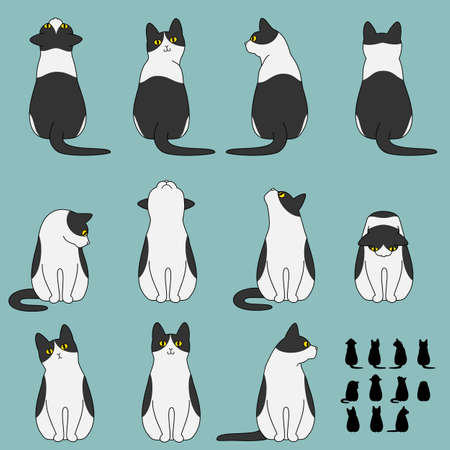 Illustrazione per Set of cat sitting poses - Immagini Royalty Free