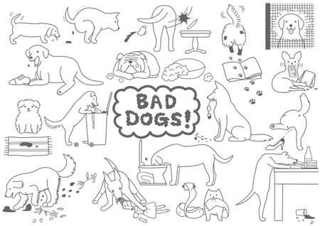 Illustrazione per bad dogs set - Immagini Royalty Free
