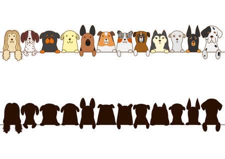 Illustration pour big dogs border with silhouette - image libre de droit