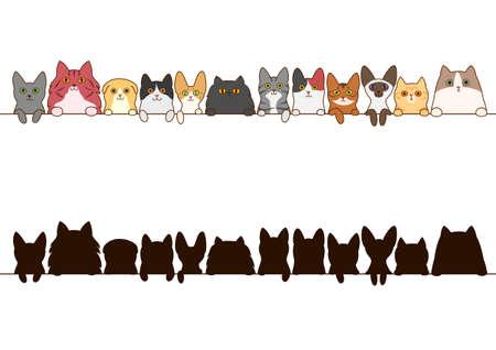 Illustration pour cats border set with silhouette - image libre de droit