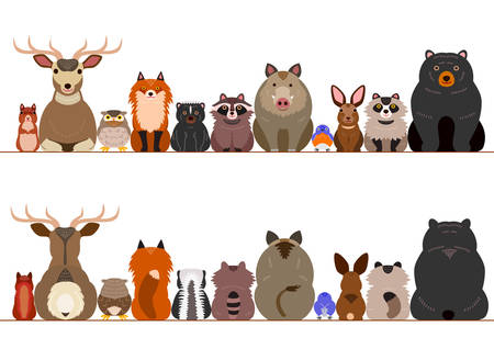 Photo pour woodland animals border set - image libre de droit
