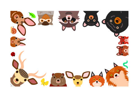 woodland animals frameのイラスト素材