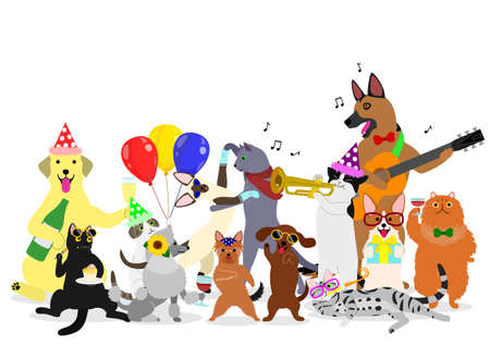 Ilustración de Party cats and dogs group. - Imagen libre de derechos