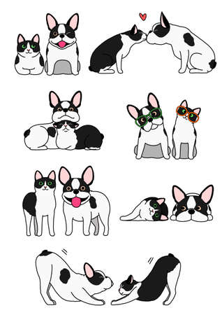 Illustration for set of cat and dog pairs - Royalty Free Image