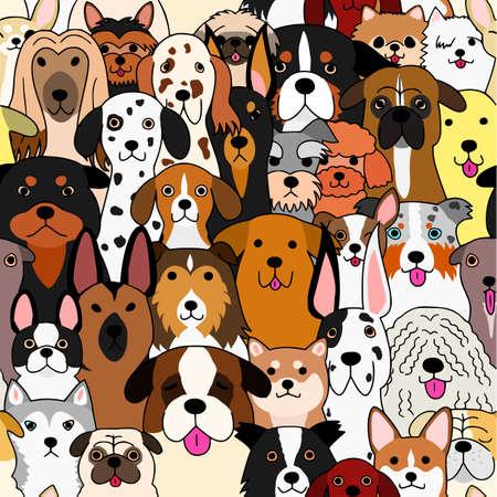 Illustration pour seamless doodle dogs colorful background - image libre de droit