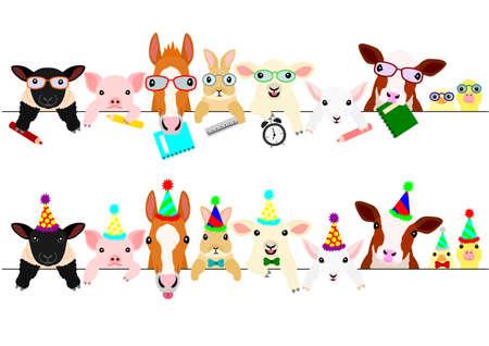 Foto de cute farm animal babies border set with school items and with party hats and ties - Imagen libre de derechos