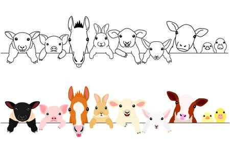 Illustration pour cute farm animal babies border set - image libre de droit