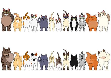 Illustration pour cats border set - image libre de droit