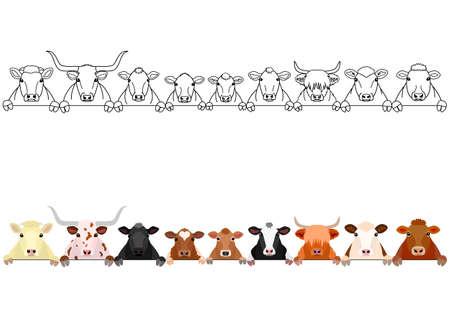 Illustration pour various cattle in a row - image libre de droit