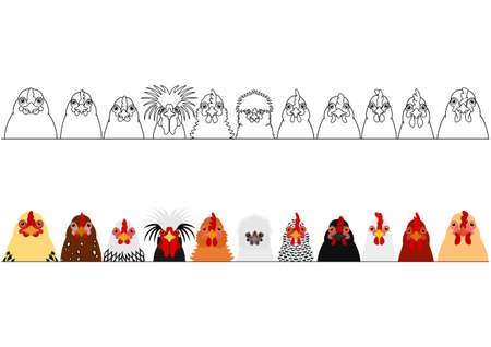 Illustration pour various chicken heads in a row - image libre de droit