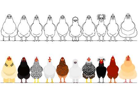 Illustration pour various chicken in a row - image libre de droit