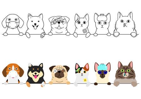 Illustration pour unhappy sick cats and dogs border - image libre de droit