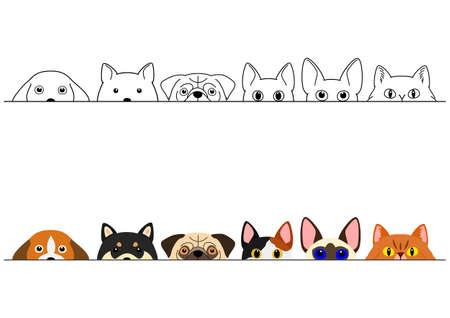 Illustration pour funny peeking cats and dogs border set - image libre de droit