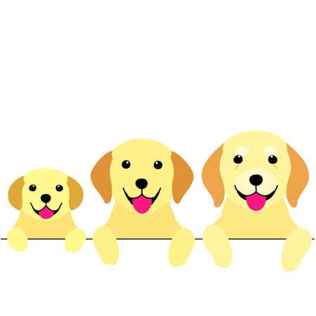 Illustration pour three generations of dogs border - image libre de droit