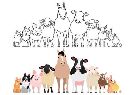 Illustration pour farm animals in a row, paws around shoulders each other - image libre de droit