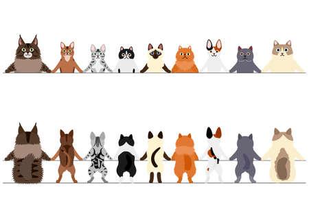 Illustration pour smiling cats border set, front and back - image libre de droit