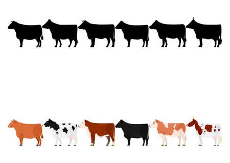 Illustration pour various cows in a row 1 - image libre de droit
