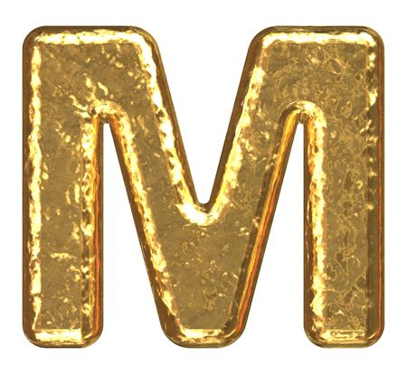 Golden font. Letter M.