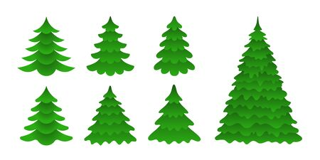 Illustration pour Set of Christmas trees in a flat style. Symbolic firs isolated on white background. Vector Icons  - image libre de droit