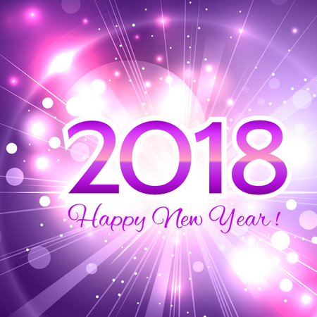 Illustration pour Beautiful pink Christmas background with a bright flash of light and the words Happy New Year 2018!  - image libre de droit
