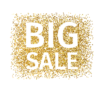 Illustration for Creative banner of gold particles with white text Big Sale - Royalty Free Image