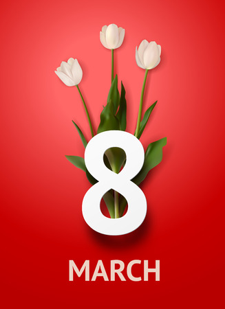 Illustration pour Realistic bouquet of three white tulips with bold text march 8 on red background. March 8 greeting card. Holiday template - image libre de droit
