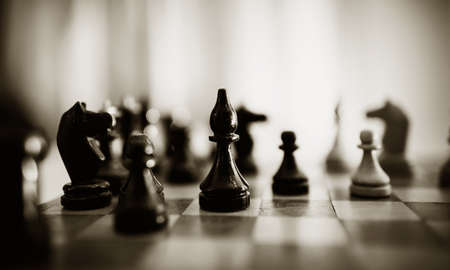 Photo pour Wooden chess pieces on the chessboard. Intellectual game -chess. Chess pieces on the Board. - image libre de droit