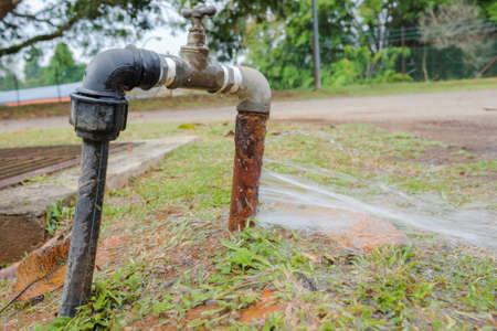 Photo pour Water Pipe Burst. Galvanized water pipe is decay - image libre de droit