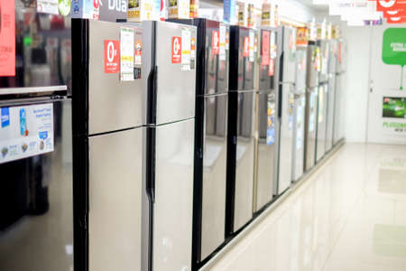 Segamat, Malaysia - June 22th, 2018 : Refrigerator for sale  at electronic department in hypermarket.