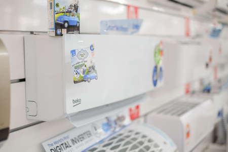 Segamat, Malaysia - June 22th, 2018 : Various brands of aircond  at electronic department in hypermarket.