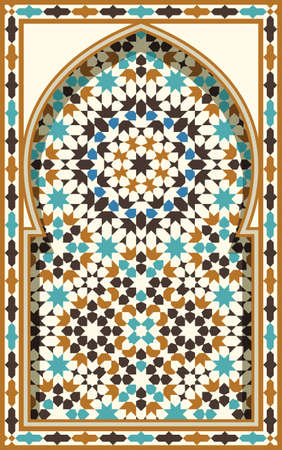 Illustration pour Arabic Arch. Traditional Islamic Background. Mosque decoration element. Elegance Background with Text input area in a center. - image libre de droit