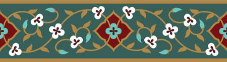 Illustration for Arabic Floral Seamless Border. Traditional Islamic Design. Mosque decoration element. - Royalty Free Image