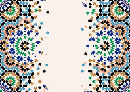 Ilustración de Morocco Disintegration Template. Islamic Mosaic Design. Abstract Background. - Imagen libre de derechos