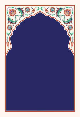 Ilustración de Floral arch for your design. Traditional Turkish Ottoman ornament. Iznik. Vector background. - Imagen libre de derechos