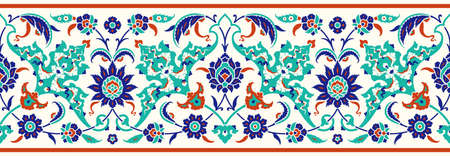 Illustration pour Floral border for your design. Traditional Turkish – Ottoman seamless ornament. Iznik. Vector background - image libre de droit