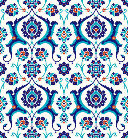 Illustration for Floral pattern for your design. Traditional Turkish – Ottoman seamless ornament. Iznik. Vector background. - Royalty Free Image