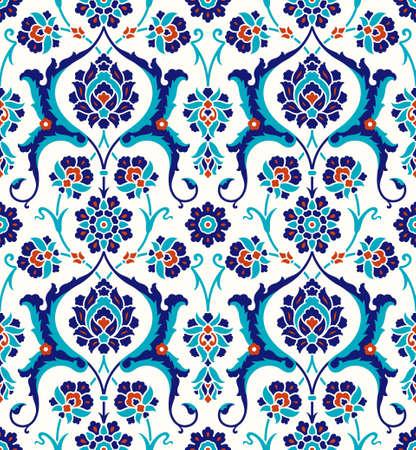 Ilustración de Floral pattern for your design. Traditional Turkish – Ottoman seamless ornament. Iznik. Vector background. - Imagen libre de derechos