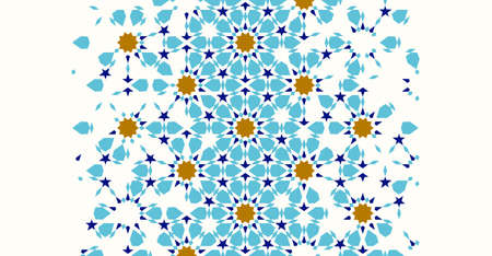Illustration pour Morocco disintegration template based on geometric islamic mosaic design. Tile repeating vector border. Abstract background. - image libre de droit