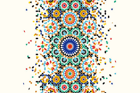 Illustration for Morocco disintegration template based on geometric islamic mosaic design. Tile repeating vector border. Abstract background. - Royalty Free Image