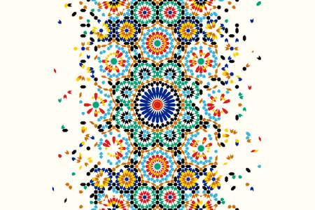 Ilustración de Morocco disintegration template based on geometric islamic mosaic design. Tile repeating vector border. Abstract background. - Imagen libre de derechos