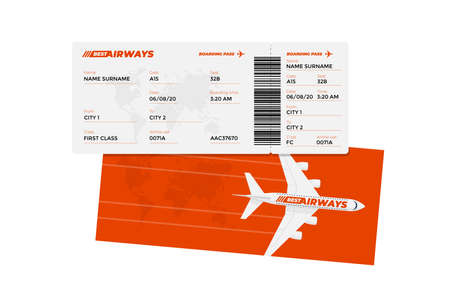 Illustration for Realistic airline ticket boarding pass design template with passenger name and barcode. Air travel by airplane red color document vector illustration - Royalty Free Image
