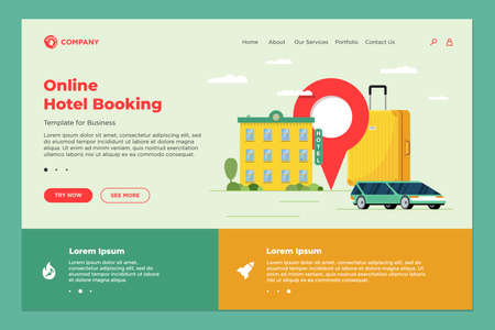 Illustration pour Hotel booking and car sharing online service for vacation tourism landing page template. Travel apartment transport reservation web design. Motel baggage suitcase and location pin vector illustration - image libre de droit