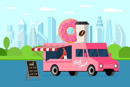 Illustration for Fast food pink truck with baker outdoor city park. Donut and coffee paper cup on van roof. Doughnut with hot beverage car delivery service or fair on street catering wheels vector illustration - Royalty Free Image