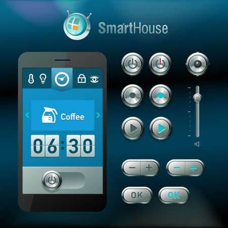 Mobile interface and elements for smart house system.