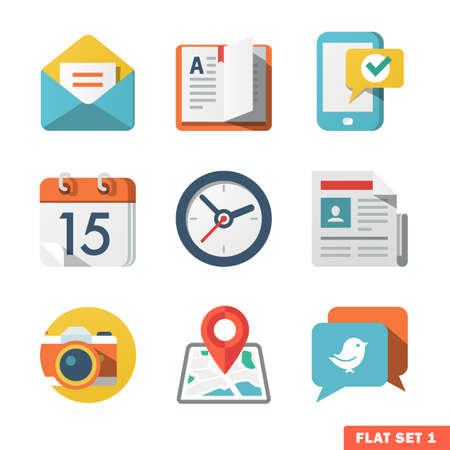 Illustration for Basic Flat icon set for Web and Mobile Application  News, communications  - Royalty Free Image