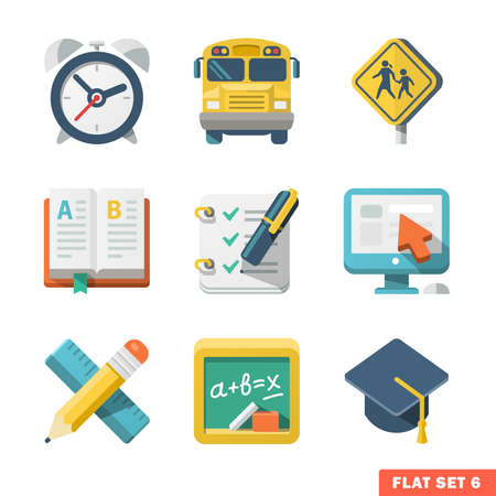 School and Education Flat Icons for Web and Mobile Application