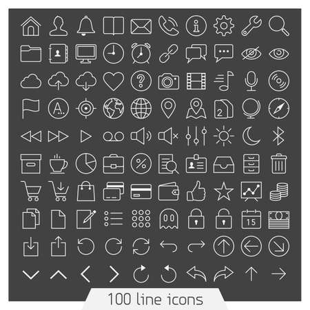 100 line icon set  Trendy thin and simple icons for Web and Mobile  Dark version