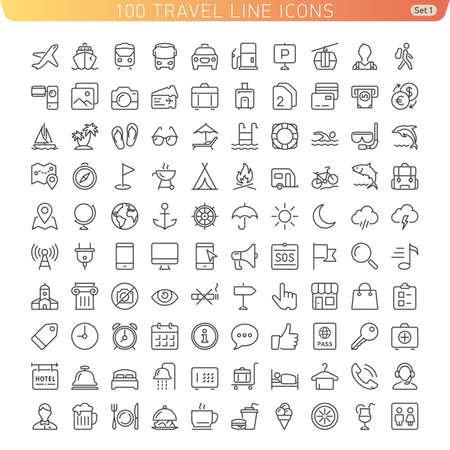 Travel Line Icons for Web and Mobile. Light version.