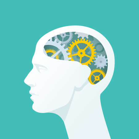 Ilustración de Human head with gears. Head thinking. Flat illustration. - Imagen libre de derechos